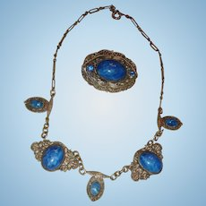 Art Deco Filigree Choker Necklace Brooch Bezel Set Lapis Blue Cabochons and Rhinestones