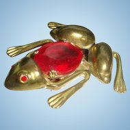Art Deco Era Ruby Red Jelly Belly Leap Frog Figural Dress Clip