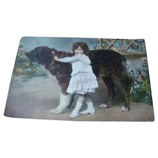 1908 Color Photo Postcard Little Girl and Her Huge Best Friend Dog