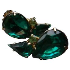 Vintage Pear Shaped Emerald Green and Tiny Peridot Green Stone Clip Earrings