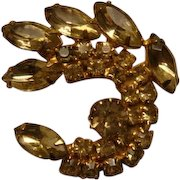 Vintage Citrine Yellow Crescent or Paisley Shape Brooch