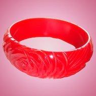 Art Deco Heavily Carved Cherry Red Rose and Leaves or Vines Bakelite Bracelet Roomy Inside Measurement