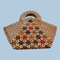 1930 - 1940 Czechoslovakian Wooden Beaded Handbag  Original Tag Multicolor Flowering Tree Design