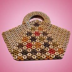1930 - 1940 Czechoslovakian Wooden Beaded Handbag  Original Tag Multicolor Flowering Tree Design