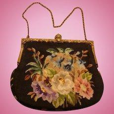 Micro Petit Point Evening Purse Handbag Repousse Frame Crown Closure KY Estate