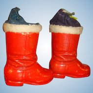 HTF Pair Christmas German Paper Mache Candy Containers Drawstring Top Santa's Boots Tree Ornament