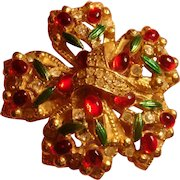 Large Bow Brooch Ruby Red Cabochons, Green Enamel, Pave Clear Rhinestones Marked A965