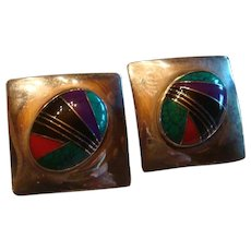 Large Native American or Southwest Multi Stone Inlay Sterling Silver Earrings With Posts