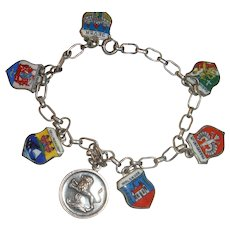 Coin Silver Enamel European Charm Bracelet