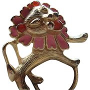 Vintage Figural Gold Tone with Pink Enamel Whimsical Lion Pin Brooch