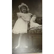 Cabinet Photo Little Girl and Mignonette Bisque Doll Matching Dresses and Bonnets