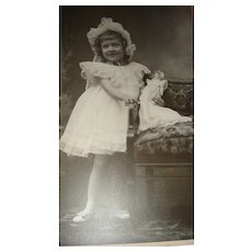 Cabinet Photo Little Girl and Mignonette Bisque Doll Matching Dresses and Easter Bonnets