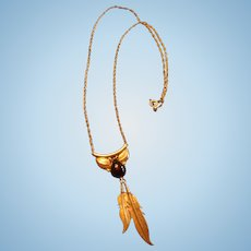 Native American Sterling Silver Leaves and Onyx Necklace Southwest