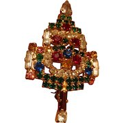 Unsigned Warner Rhinestone Candle Christmas Brooch Baguettes,  Pear Shaped and Round Stones