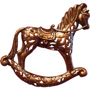 Jalaire Sterling Silver Rocking Horse Reticulated Pierced Body Figural Brooch Textured Detail