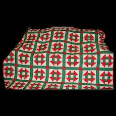 Variation of Shoo Fly and Churn Dash Hand Pieced and Stitched  Vintage Quilt Red, White and Green
