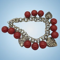 Sterling Silver 1940's Puffy Hearts and Red Bakelite Buttons Charm Bracelet Double Link