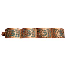 Sterling Silver Turquoise Aggregate Inlay Wide Bracelet Swordfish Mexico Marked Twice