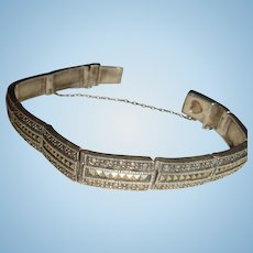 Art Deco Style Sterling Silver and Marcasite Bracelet With Safety Chain Marked