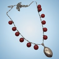 Vintage Etched Sterling Silver Locket Red Bakelite Buttons 30 Inch Chain Necklace