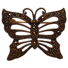 Petite Sterling Silver Marcasite Reticulated Butterfly Pin Brooch