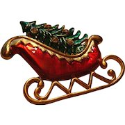 Vintage Enameled and Rhinestone Christmas Pin Brooch Santa's Sleigh and Christmas Tree