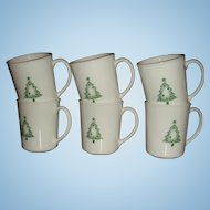 Set 0f 6 Corning USA Christmas Stencil Tree Mugs Llike New 27 + Years Old
