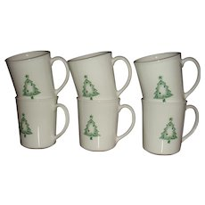 6 Corning USA Christmas Stencil Tree Mugs Like New