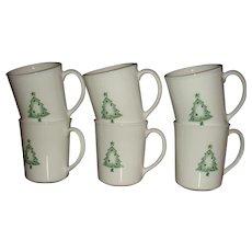 Set 0f 6 Corning USA Christmas Stencil Tree Mugs Llike New 27 + Years Old