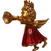 Enameled Angel With Rhinestones in Crown and Horn Christmas Pin Brooch