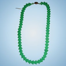 Art Deco Czechoslovakia Bell Shape Glass Jade Green Necklace Jadite Clasp