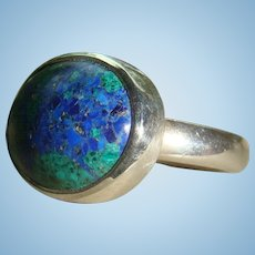 Sterling Silver  Azurite Oval Cabochon Ring Size 6 1/4 Marked 950