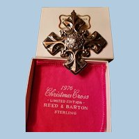 1976 Reed & Barton Sterling Silver Christmas Cross, Fleur De Lis, Original Box