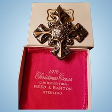 1976 Reed & Barton Limited Edition Sterling Silver Christmas Cross, Fleur De Lis Original Box