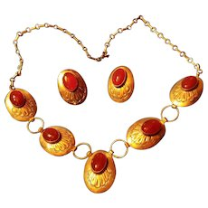 Sterling Silver Native American Concho Discs Bezel Set Carnelian Cabochons Necklace, Earrings