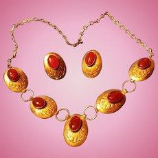 Sterling Silver Native American Concho Discs Bezel Set Carnelian Cabochons Necklace, Earrings
