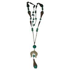 Art Deco Jade Color Peking Glass and Brass Long Czech Satoir Necklace