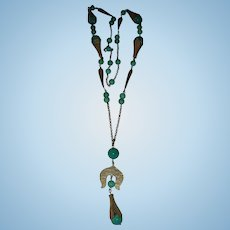 Art Deco Jade Color Peking Glass and Brass Long Czech Satoir Necklace