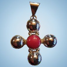 Large Sterling Silver Red Coral Mexico Cross