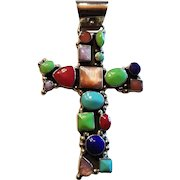 Sterling Silver Multi Color Gemstones Cross Pendant With Bead Work