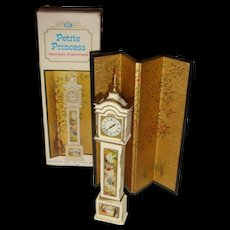 Ideal Petite Princess Fantasy Dollhouse Furniture Grandfather Clock and Folding Screen Boxed