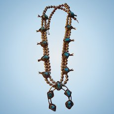 Native American Inspired Squash Blossom Necklace Turquoise and Silver Plated Beads