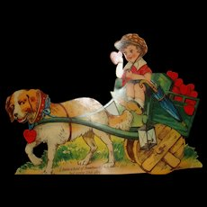 Large Die Cut Mechanical Valentine Dog Pulls Child in Cart Full of Valentine Hearts Made in Germany