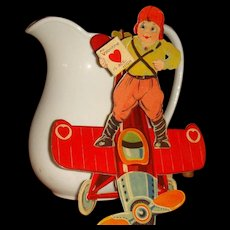 Early Large Die Cut Mechanical Valentine Little Aviator Pilot with Airplane