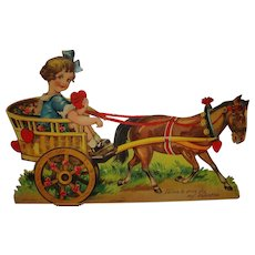 Large German Die Cut Mechanical Valentine Horse Drawn Buggy , Child, Hearts and Roses
