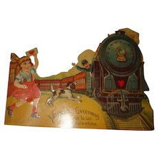 Large Die Cut Mechanical Valentine Train, Engineer, Little Girl and Her Dog