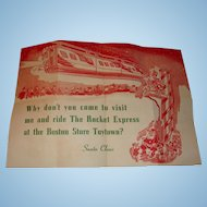 1946  Advertising Letter from Santa Card  Boston Toytown Store