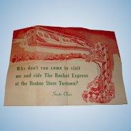 1946  Advertising Letter from Santa Card  Boston Toytown Store