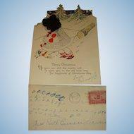1929 Die  Cut Christmas Card Little Girl Silk Hair, Logging, Dog, Trees, IL, Envelope