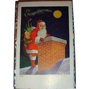 1907 Ullman Christmas Postcard with Older Santa Claus Chimney